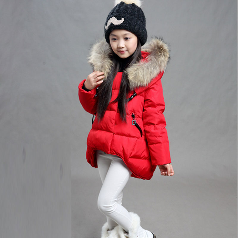 New Children Parka Girls Winter CoatLong Duck Down Thick Faux Fur Hooded Winter Jacket For Girls цены онлайн