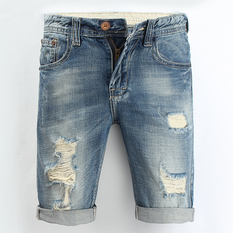 DIMUSI Men Denim Shorts 2017 Summer ripped wave Casual Knee Length ...