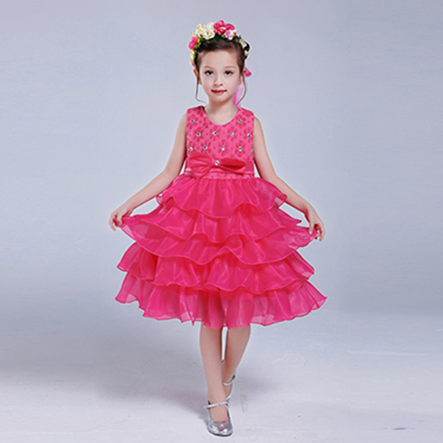 2016 fashion new summer wedding dress bow princess dress v-neck sleeveless children clothes free shipping