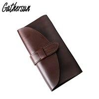 100 Crazy Horse Leather Unisex Long Handmade Wallet Genuine Leather Vintage Style Handbag No Lining Long