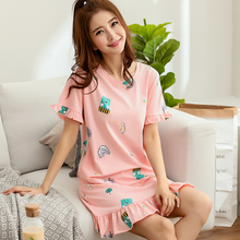 Summer Cute Women Sleepwear M-XXL Nightgowns Home Wear Girls Sleep Lounge Nightgrowns Dress Home Clothing