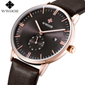 WWOOR Brand Work Small Dial Date Quartz Watch Men Sports Watches Male Luxury Analog Clock Leather Casual Watch relogio masculino