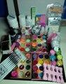 Pro Nail Art  uv builder gel Acrylic Liquid Brush Glue Glitter Powder  Tool Set Kit Tips