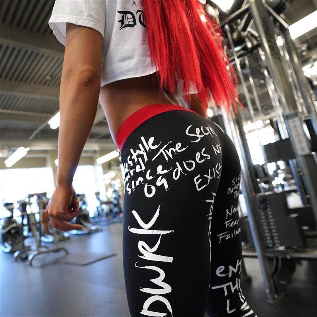 2019 New Fashion Letter Print Leggings Women Slim Fitness High Waist Elastic Workout Leggings for Gym Sport Running Europe Size 25