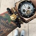 2016 New Design Black Agate Bracelets Men Natural Stone Matte Bead Bracelets Titanium Steel Lion Head Bracelet For Men
