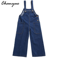 Chanyue Girls jeans Overalls For Kids Jumpsuit Clothes Casual Denim Short Pants Summer Baby Denim Bib Pants/Jeans
