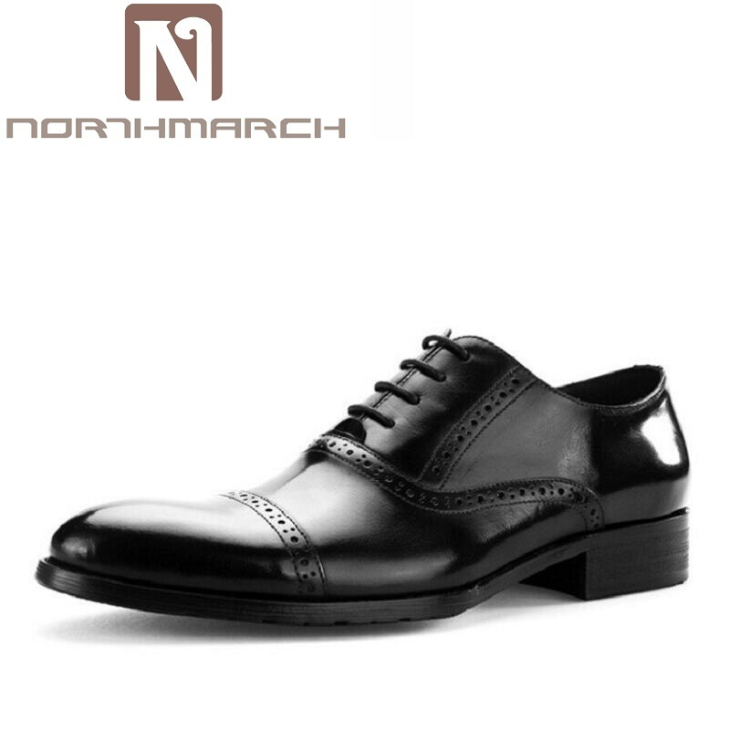 NORTHMARCH Luxury Handmade Genuine Leather Men Oxford Shoes Casual Business Men Shoes Brand Men Wedding Formal Shoes Bullock handmade genuine leather men shoes men flats shoes business dress shoes men oxford formal shoes size 38 47