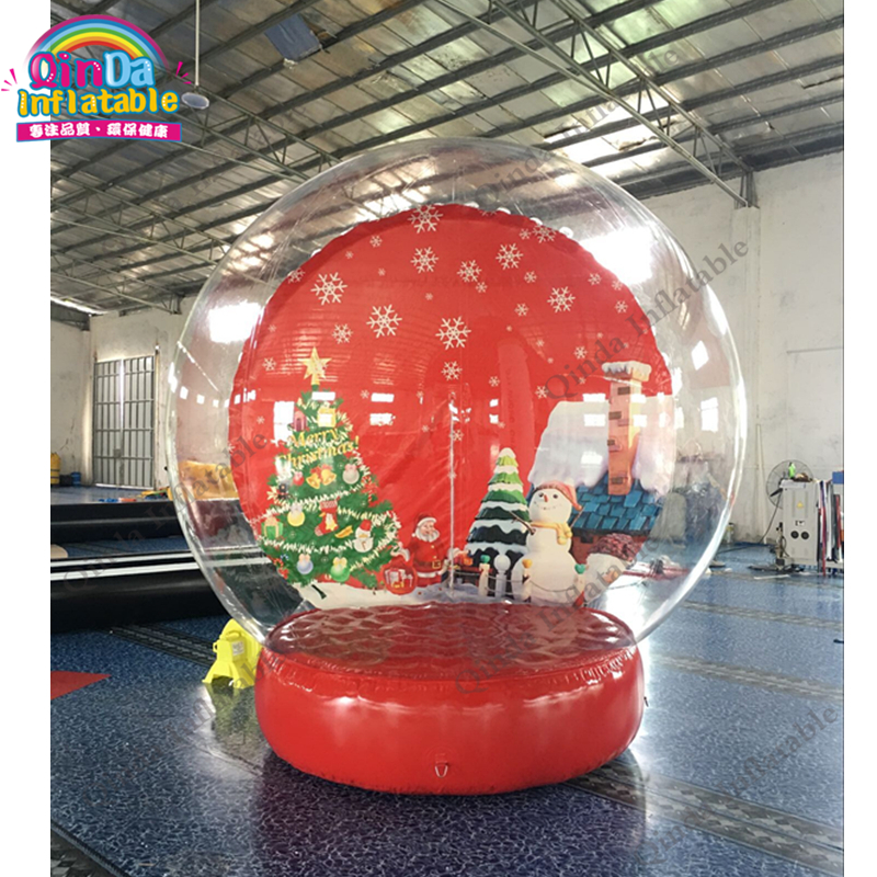 Outdoor christmas decoration human size dome inflatable snow globe photo booth for sale 3m diameter empty inflatable snow ball for advertisement christmas decorations giant inflatable snow globe