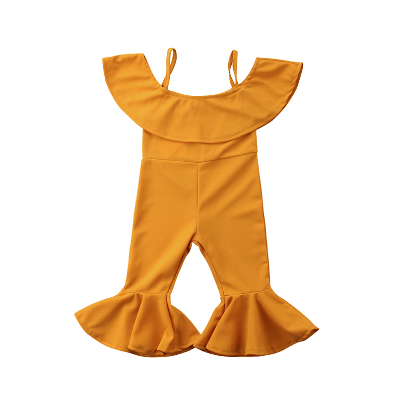 1-6Y Fashion Toddler Kids Baby Girl Summer Off shoulder Cape Collar Bell-bottom   Romper   Jumpsuit Outfit Children Clothes