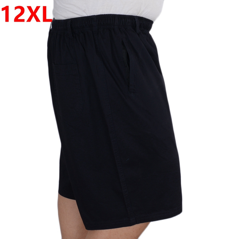 Summer Plus Size Cotton Shorts Men Size Plush Shorts  Plus Size Daddy Elastic Shorts With Zipper Pockets