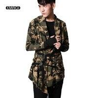 Primavera Autunno Incappucciati di Sesso Maschile T-Shirt Da Uomo Camouflage Cardigan Manica Lunga Slim T Shirt Tees Camicie Uomo Punk Hiphop Abbigliamento