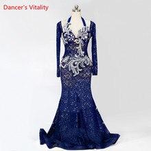 Расширенный настройки Для женщин/девочек танец живота костюм сценическое/конкуренции одежда темно-синий Кружево платье консервативное платье