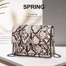 где купить Small Snake Print Shoulder Bag Flap Messenger Handbags for Women Leather Chain Crossbody Bags Bolsas Feminina Mujer Sac A Main по лучшей цене