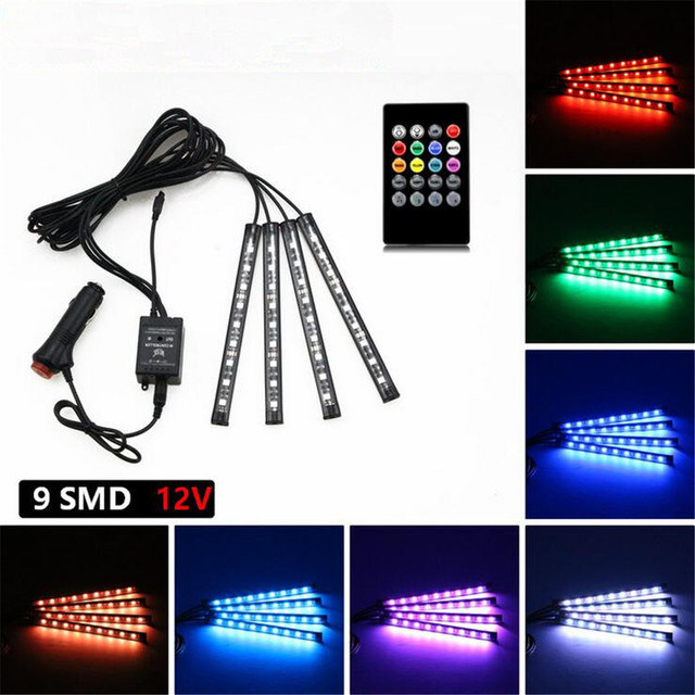 4 Strip Light 12v 4 in 1 9led rgb led strip light music voice control car interior 12v 4 in 1 9led rgb led strip light music voice control car interior diy decoration audiocablefo