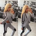 2015 new aliexpress dress with cap stitching irregular front fashion casual suit spot tracksuit for women