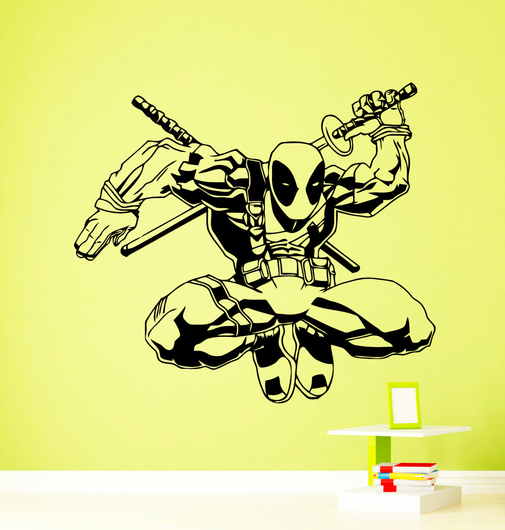 Anitihero Style Wall Decal Marvel Comics Wall Stickers For Kids Rooms Vinyl Home Interior Pool Decor Art Mural Dead Decor SYY944