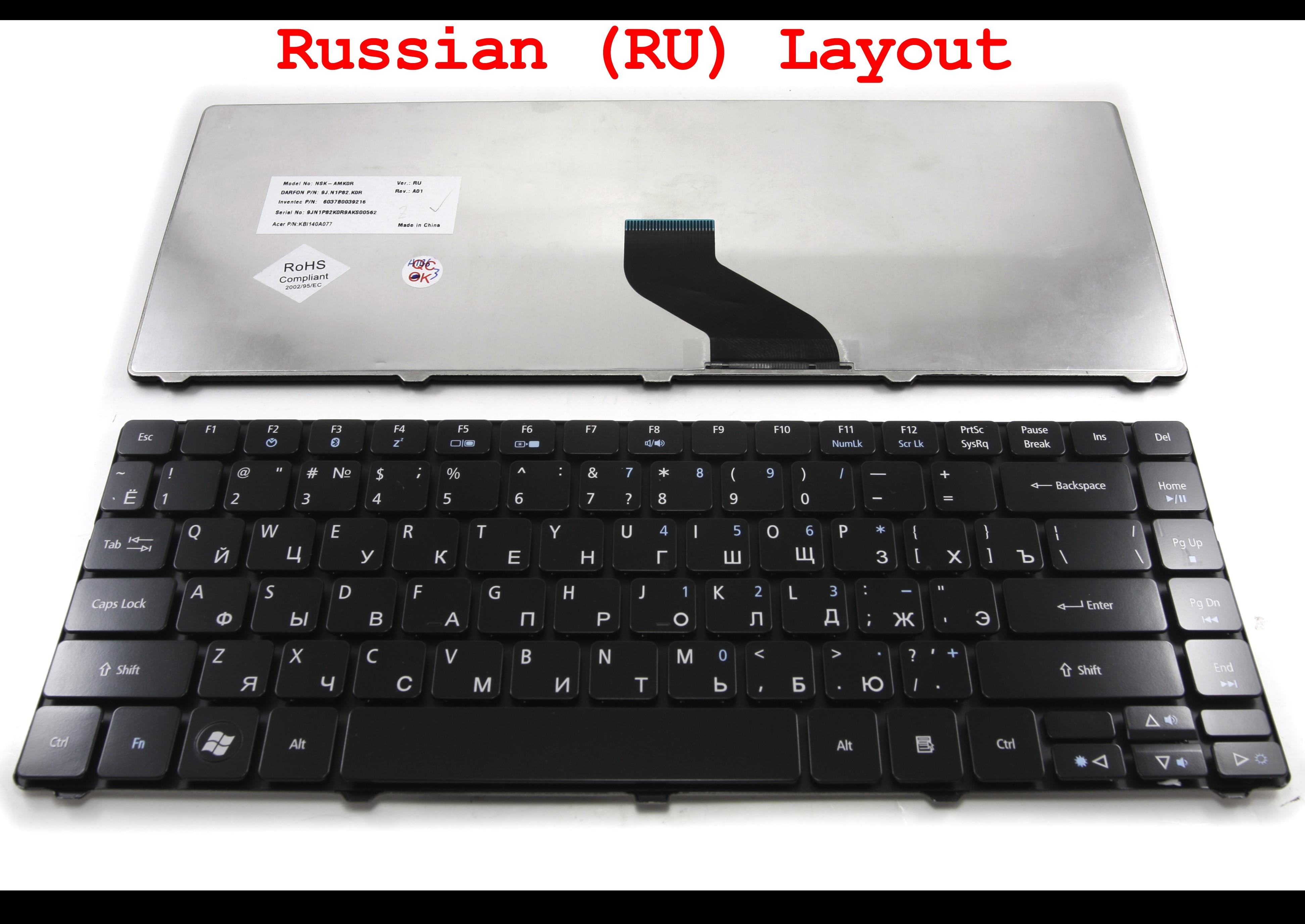 Русский RU Ноутбук клавиатура для acer Aspire 3810 3810 T 4735 4735G 4735Z 4736 4736G глянцевый черный-MP-09C63SU6930