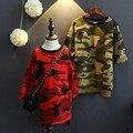 Moda Blusa de Las Muchachas Niños Del Otoño Camisetas 2017 estilo largo Fresco de Camuflaje Blusa para Las Muchachas Ocasionales Ropa