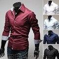 2016 сплошной цвет платья мужчины, Специальный пряжки чистый цвет рубашки, M-3xl свободного покроя рубашка, 5 цвет рубашки с длинным рукавом