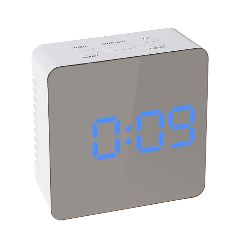 Digital LED Mirror Desktop Clock 12H/24H Alarm Desktop Thermometer Clocks Blue Light