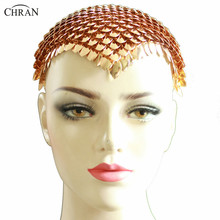 Chran Festival Carnival Gold Scale Head Chain Handmade Mask Face Halloween Body