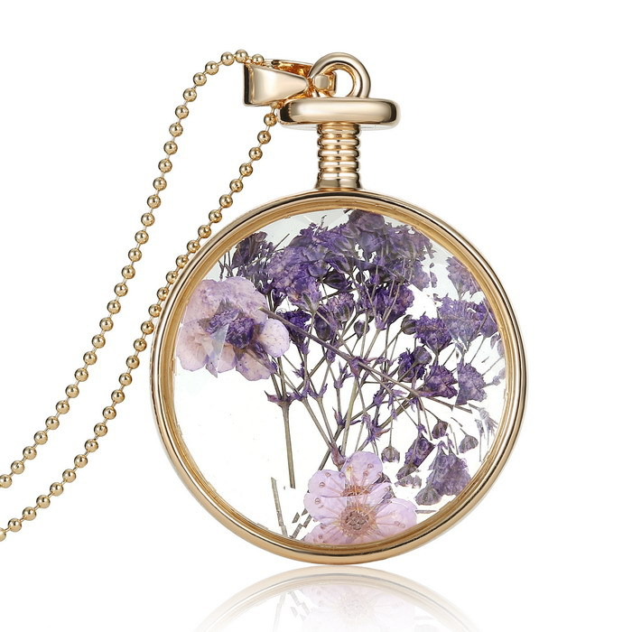 Romantic Round Glass Charms Pendant Real Dried Pressed Flower Necklace Jewelry
