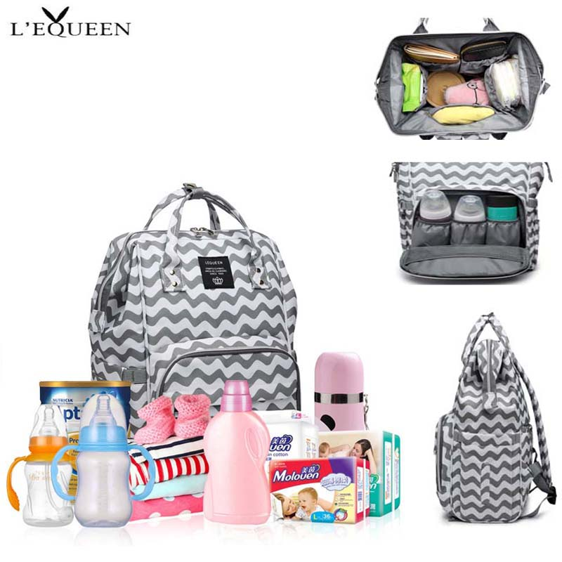 LEQUEEN Fashion Baby Diaper Bag Large Maternity Mummy Storage Bag Baby Care Travel Backpack Mommy Baby Stroller Baby Bag