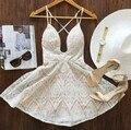 Frete grátis 2015 moda v-neck vestido de renda funda vestido de verão vestido de festa sexy vestido