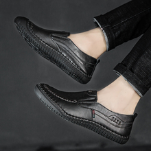 Men Flat Shoes Quality Split Leather Loafers Breathable Slip-On Outdoor Driving  5