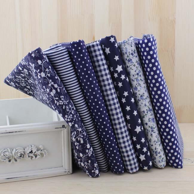 Nuevo 2014 50x50 cm 7 unids dark navy azul textiles para el hogar tela tilda pat