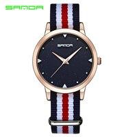 SANDA de primeras marcas de lujo Relojes de Las Mujeres de nueva casual y elegante reloj de cuarzo multicolor tela de nylon correa de reloj deportivo Relojes