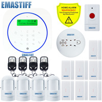 Free shipping.Remote Control Security Alarm System GSM Alarm System 1 Fire Smoke+4 motion detector+7 door/window open sensor