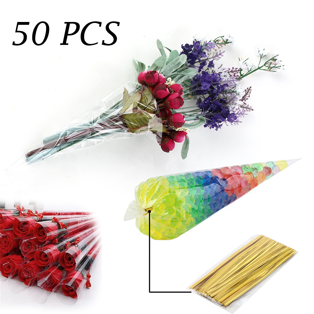 "Party Bags With 4/"" Silver Twist Ties 250 CLEAR Cone Cellophane Cello Sweet"