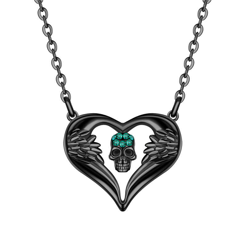 Fashion Punk Women Skull Pendant Necklace Crystal Black Gold Silver Angel Heart Necklaces Jewelry Dropshipping