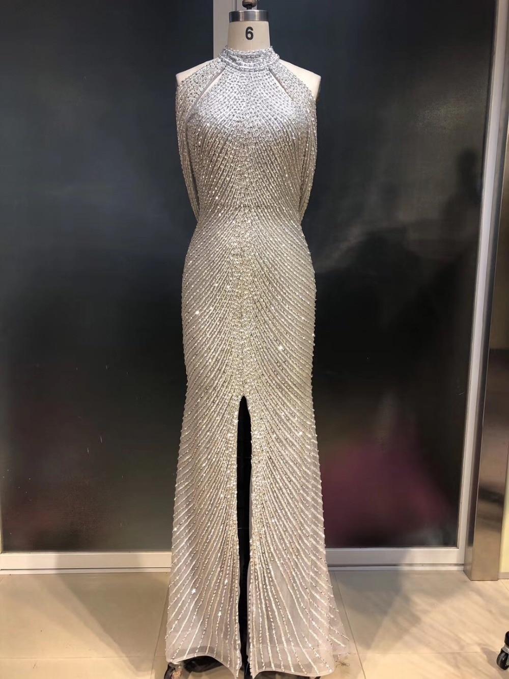 Fabulous New Design Long   Evening     Dress   2019 High Neck Sleeveless Beading Mermaid Prom   Dresses   Robe de soriee Vestidos
