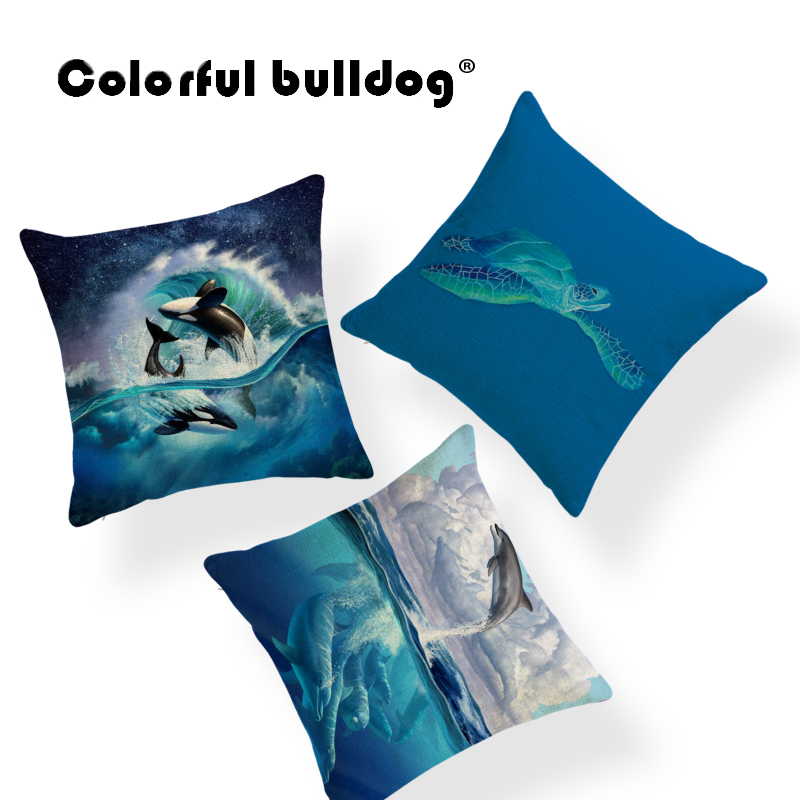 Twin Sides Vintage Dark Blue Starfish Art Pattern Throw Pillow Case Zippered Cushion Cover Home Sofa Decorative 18 X 18 Inch