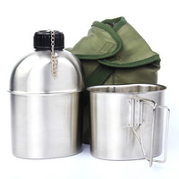 High Quality Portable Stainless Steel Military Canteen 1L Portable with 0.5L Cup Green Cover Camping Hiking G.I.