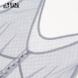 Image 5 - ELFSACK Mesh Vintage V ausschnitt Taste Frauen Kleid Casual Rüschen Trim Strand Kleider Weibliche Lange Kleid Solide Süße Spitze Kleidung