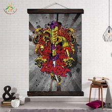 Japan Style Sword Vintage Posters and Prints Scroll Painting Canvas Art Modern Wall Pictures Frame Home Decoration