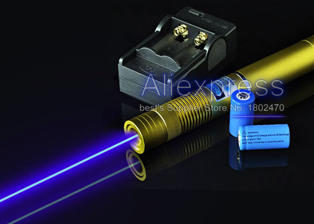Real 1000mw 1w Military Blue Laser Pointer Pen Burning Laser