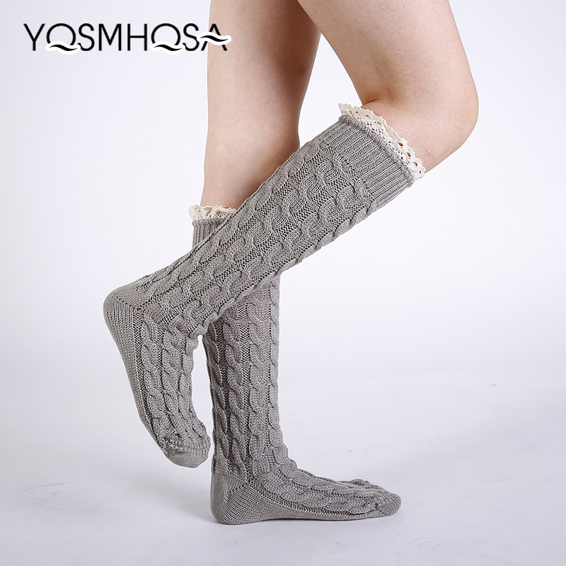 Fashion Long Socks Stockings Over Knee Knit Winter Women Warm Sexy Lace Long Socks Girls Soft Thigh High Solid WK014