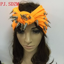 Hand Made Classical Punk Style Rivet Hairband Star T Stage Hot Studs Headband Night Club Hair Accessory Orange Black StockFG0090