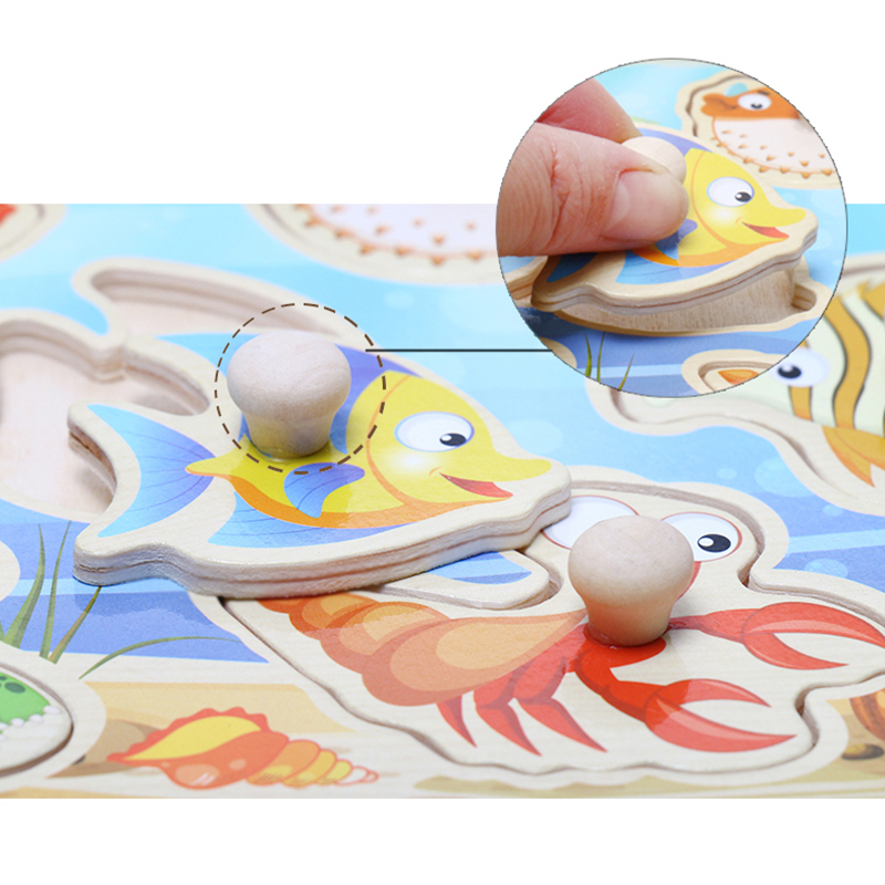 Baby Toys Montessori Wooden Puzzle Cartoon Vehicle Marine Animal Puzzle Jigsaw Board 12 Set Educational Wooden Toy Child Gifts 2