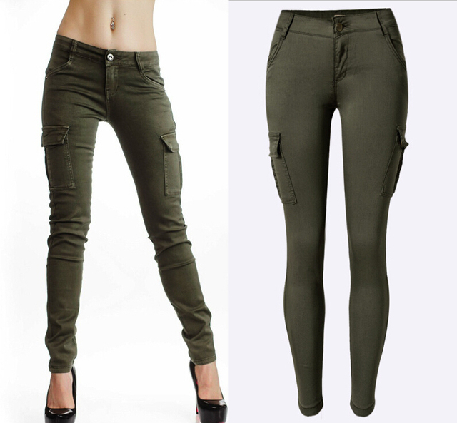 New Styles Mid Waist Elasticity Women Stretch Pencil Jeans Double Side Pockets Army Green Color Skinny Femme Women Fashion Jeans
