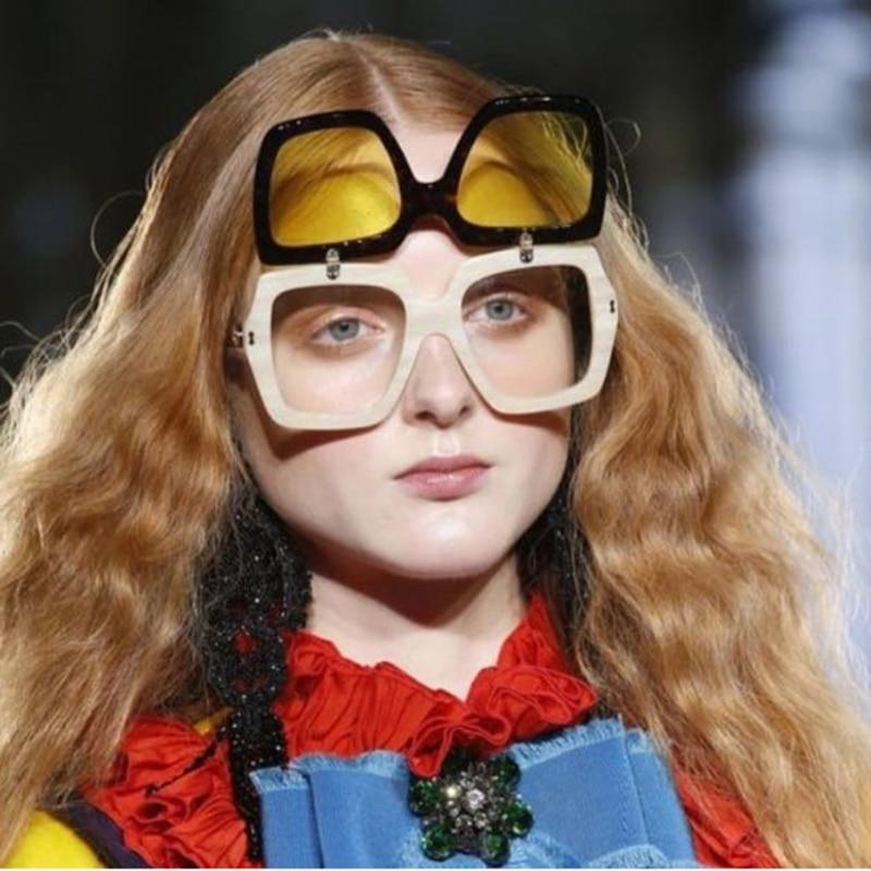 YDO New Square Sunglasses Women Fashion Flip Cover Frame Sun Glasses Oversize Shades UV400 Ladies Google Eyewear oculos de sol