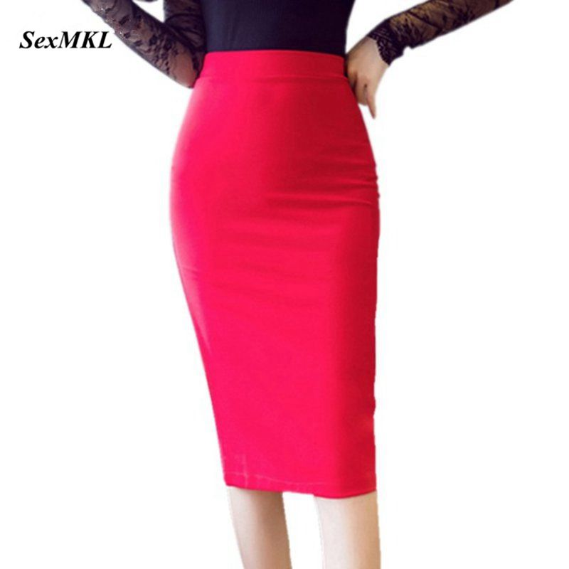 S-5XL Women Pencil Long Skirts 2019 High Waist Casual Summer Sexy Skirts Slim Red Office Lady Work Wear Plus Size Black Skirt
