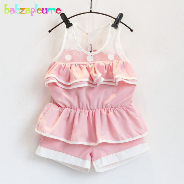 0fc8cdc4ae9 2PCS 2-6Years Summer Korean Fashion Baby Girls Suit Toddler Clothes Lace  Sleeveless T-shirt+Shorts Children Clothing Sets BC1150
