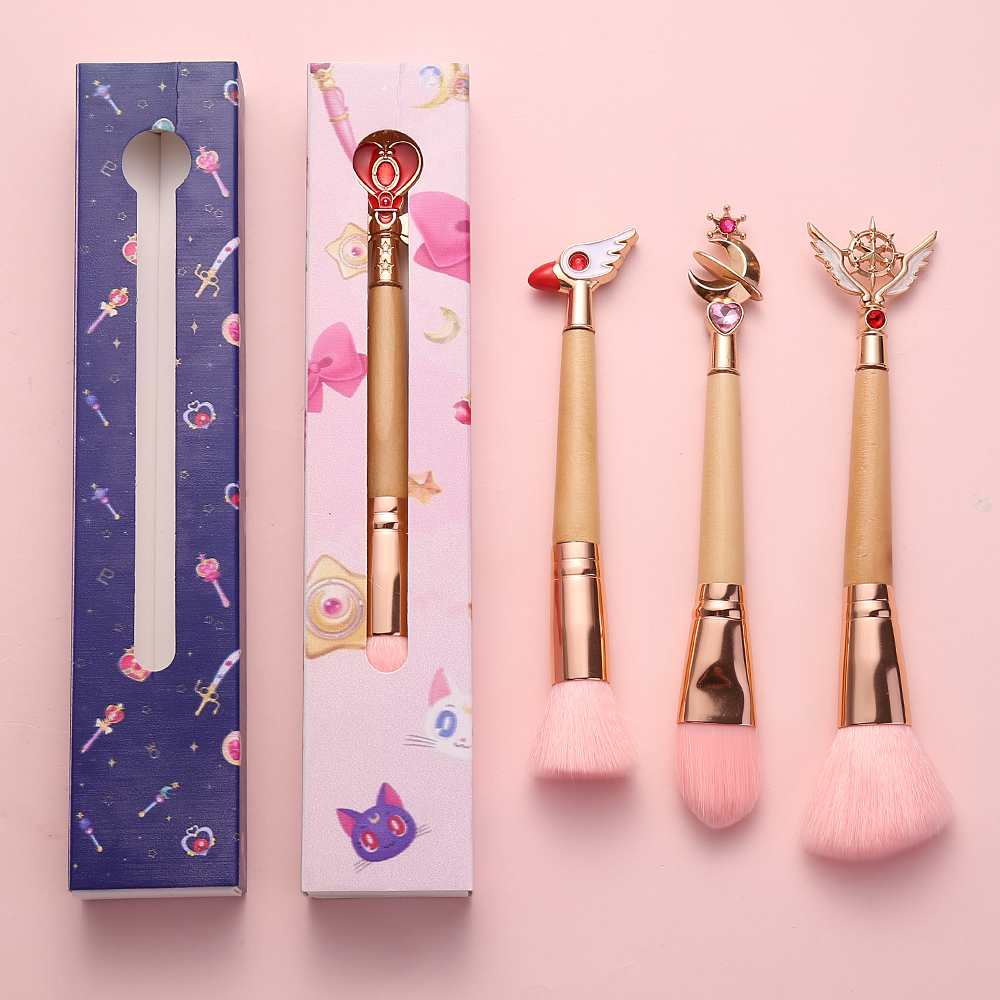 Hot! 4 Style Makeup Brushes Bamboo Make Up Brush Soft Synthetic Hair Collection Pink Powder Blush Brushes with Random Color BOX