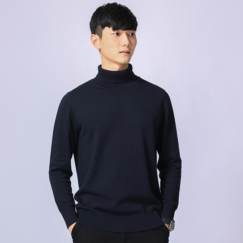 Knitted Knitwear Male Casual Mens Blue Sweater Long Sleeve Warm Thick Oversized Turtleneck High Collar Sweater 3XL Pullover Men