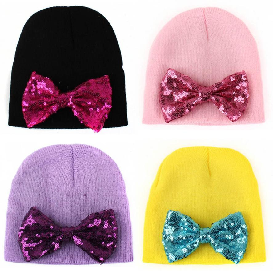 BMF TELOTUNY Fashion Baby Kids Newborn Cute Hat Bow Baby Girl Boy Hat Beanie With Sequins Bowknot Hat Apr3 Drop Ship